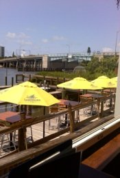 Boatyard Waterfront Grill Deck looking at the bridge