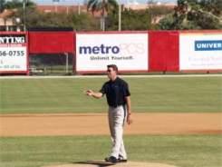Orioles legend Jim Palmer on the mound at Ed Smith Stadium Sarasota Florida