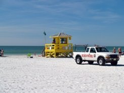 Lifeguard stand at Siesta Beach Florida