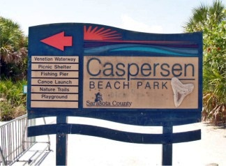 Welcome Sign at Caspersen Beach Sarasota County Beaches