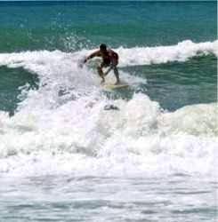 Florida Surfing at Cortez Beach on Southwest Anna Maria Island Florida