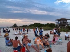 Drum Circle at Nokomis Beach Spectators watching