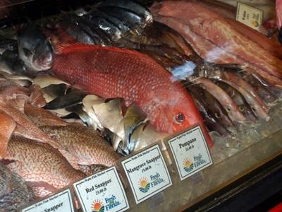 Fresh fish case at Walts
