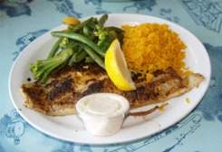 blackened grouper lunch at rod and reel pier restaurant anna maria island florida