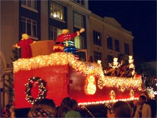 Santa in his sleigh at the downtown Sarasota Holiday Parade