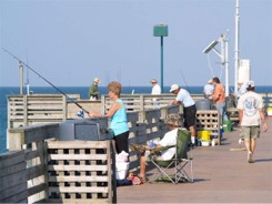 Fishing off the Venice fishing pier