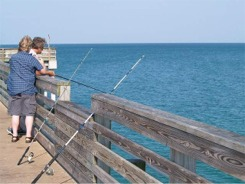 Fishermen on the Venice fishing pier in Venice Florida
