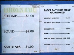 bait and lunch menu at the venice florida fishing pier