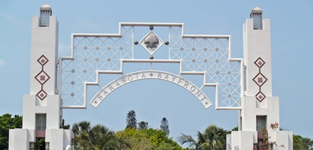The gateway to Bayfront park in Sarasota, Florida