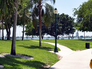 Walk path through Bay Front Park in Sarasota Florida