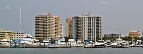 Sarasota City Marina from Bayfront park