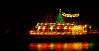 The Sarasota Christmas Holiday Boat Parade of Holiday Lights on Sarasota Bay
