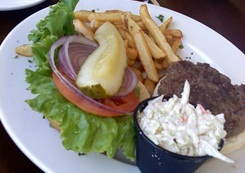 Hamburger & fries at the Boatyard Waterfront Grill