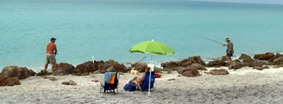 Shore fishing at Caspesen Beach Florida
