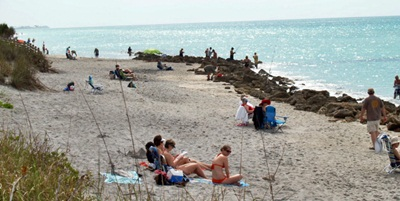Caspersen Beach Sun Bathers Soaking Up Sun