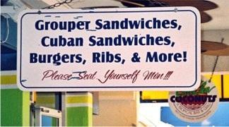 The menu at Cha Cha Coconuts Sarasota Florida