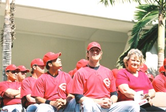 Cincinnati ball players enjoying the Reds Rally in Sarasota Florida