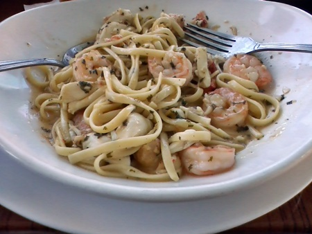 Seafood Linguini Pasta dish at Dockside Waterfront Grill in Venice, FL.