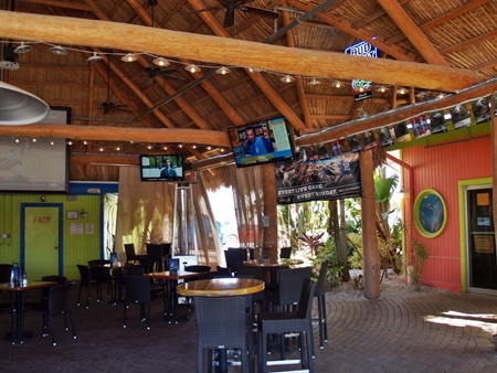 Dockside Waterfront Grill dining with large screen TV's