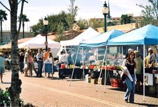 Fresh food tents at the farmers market Sarasota Florida