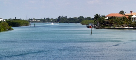 A view looking north on the intracoastal waterway fron Casey Key Florida