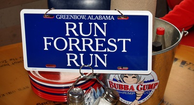 Movie memorabilia from Forrest Gump at Bubba Gumps