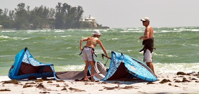Getting ready to go kite surfing on south Lido Key near Sarasota