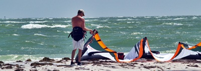 Preparing to kite surf off south Lido Key Beach near Sarasota, Florida