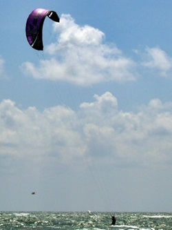 Kite surfing along Lido Key Beach near Sarasota Florida