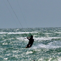 Kite boarding off Lido Key Beach near Sarasota