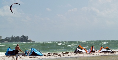 Kite boarding through Big Pass near Sarasota Florida