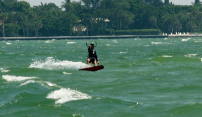Kite boarding on Sarasota's Big pass