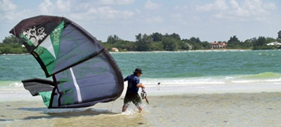 A kite boarder on south Lido Key near Sarasota