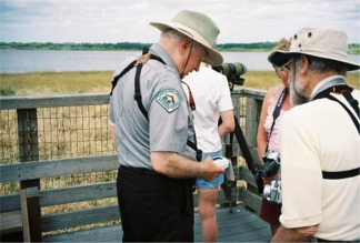 The Park Ranger with Visitors on the Birdwalk at Myakka River State Park