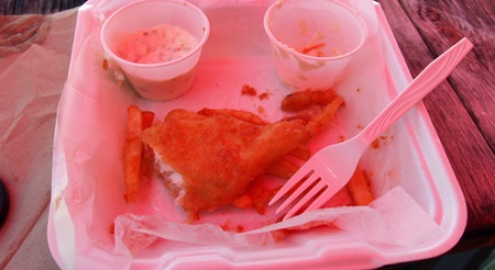 Fish and Chips lunch at New Pass Grill on City Island in Sarasota Florida