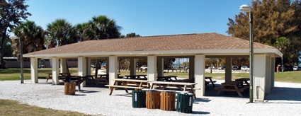 Covered picnic shelter and grill at North Jetty Park Nokomis Florida