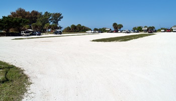 Parking lot at North Jetty Park  on south Casey Key Florida