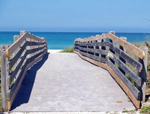 Walk over bridge to the beach from North Jetty Park  on Casey Key Florida
