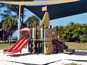 Playgrounrd rides at North Jetty Park on Casey Key Florida