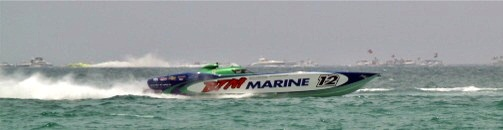Offshore boat racing off Lido Key Beach
