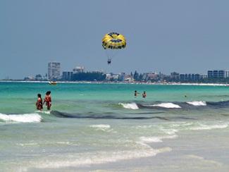 parasailing on Crescent Beach off Sarasota Florida