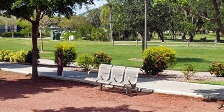 Park benches in Sarasota's Payne Park