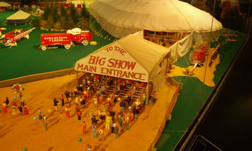 Entry tent to thecircus in the Circus Miniature display at the Ringling Circus Museum
