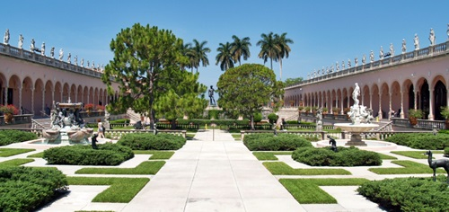 The beautiful courtyard inside the grounds of the Ringling Museum of Art in Sarasota, Florida