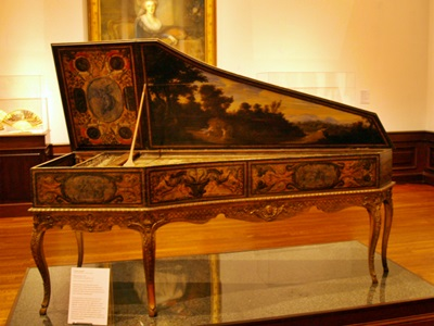 A classical harpsichord on display at the Ringling Art Muesum, Sarasota, Florida