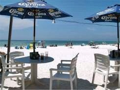 Umbrella tables at Sandbar Beach Restaurant Anna Maria Island