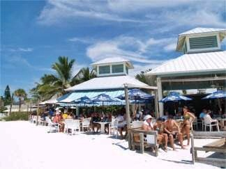 Beach view of the Sandbar Beach Restaurant Anna Maria Island Florida