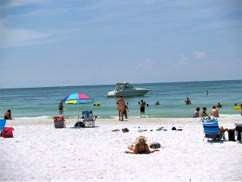 The beach view from the Sandbar Beach Restaurant on Anna Maria Island Florida