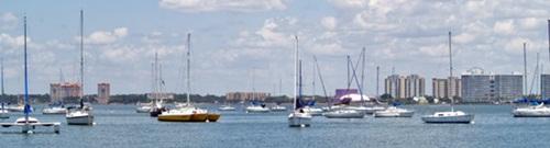 Boats anchored in Sarasota Bay