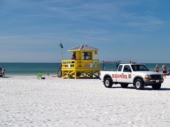 Lifeguard stand at Siesta Beach Florida